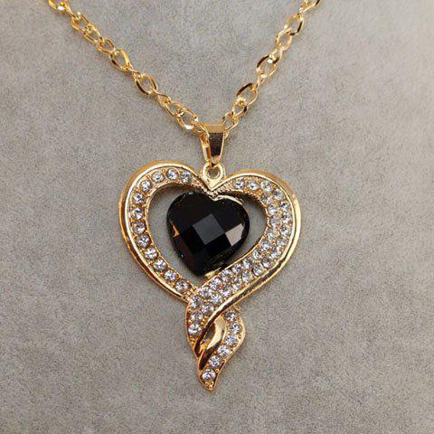 Chic Style Rhinestoned Heart Shape Pendant Necklace - GOLD