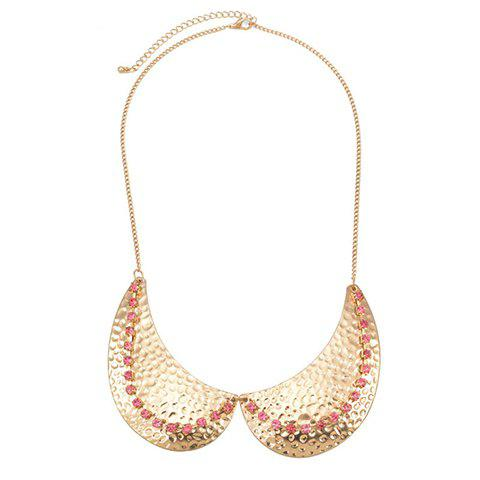 Exquisite Pink Rhinestone Embellished Golden Fake Collar Necklace For Women