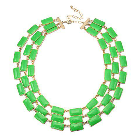 Geometric Multilayered Alloy Necklace - GREEN