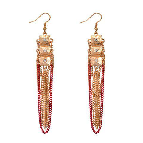 Pair of Retro Multilayered Tassel Pendant Diamante Earrings For Women - COLOR ASSORTED