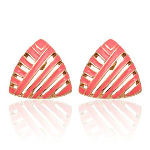 Pair of Glazed Hollow Out Triangle Earrings - RED