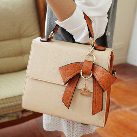 Sweet Color Matching and Bow Design Tote Bag For Women - KHAKI