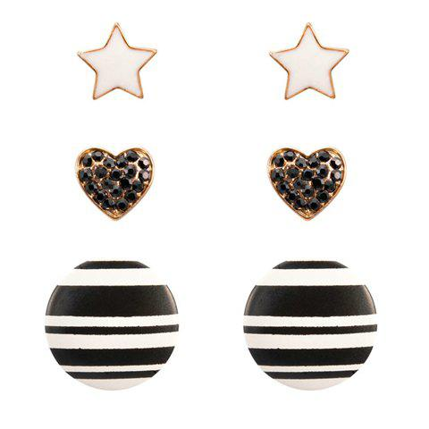 3 Pairs of Vintage Heart Star and Round Stud Earrings - AS THE PICTURE