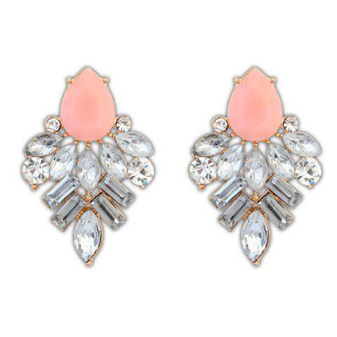 Fake Crystal Teardrop Shape Stud Earrings - PINK