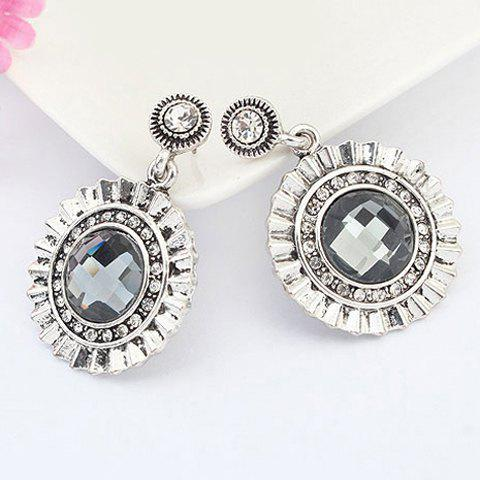 Pair of Vintage Round Faux Gem Drop Earrings