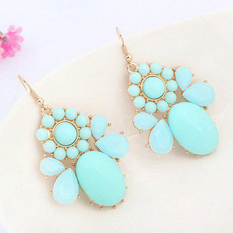 Pair of Faux Gem Geometric Drop Earrings - BLUE