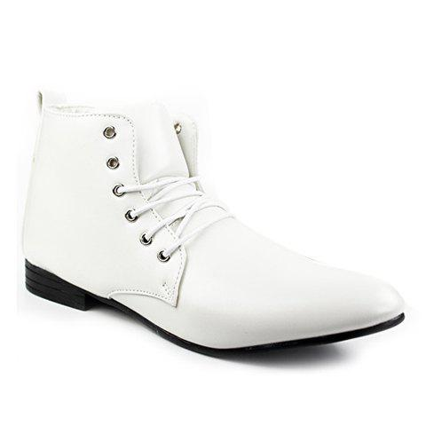British Style Solid Color and High Top Design Formal Shoes For Men - WHITE 39