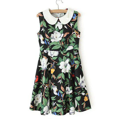 Peter Pan Collar Colored Flower Print Sleeveless Slimming Women's Dress - GREEN L