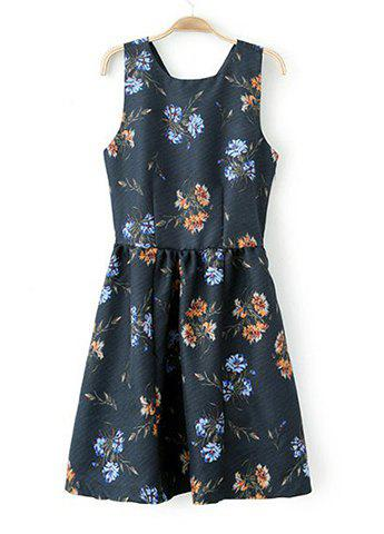 Scoop Collar Floral Print Back Cross Sleeveless Ruched Slimming Women's Dress