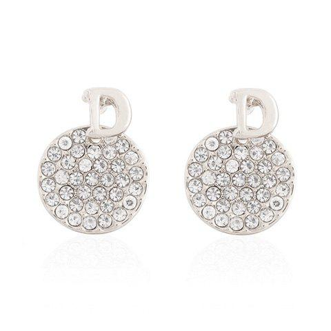 Pair of Letter D Embellished Diamante Round Earrings For Women - WHITE