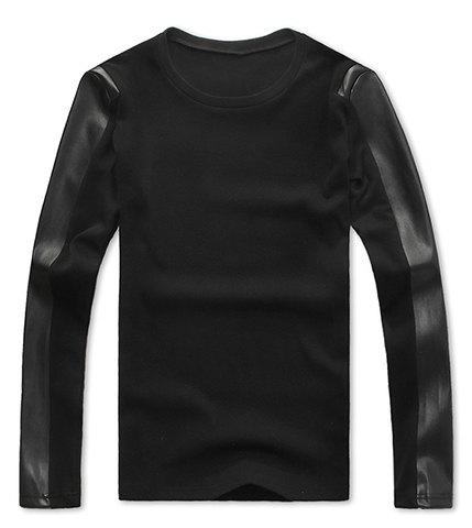 Korean Round Neck PU Leather Splicing Long Sleeves Polyester T-shirt For Men - BLACK L