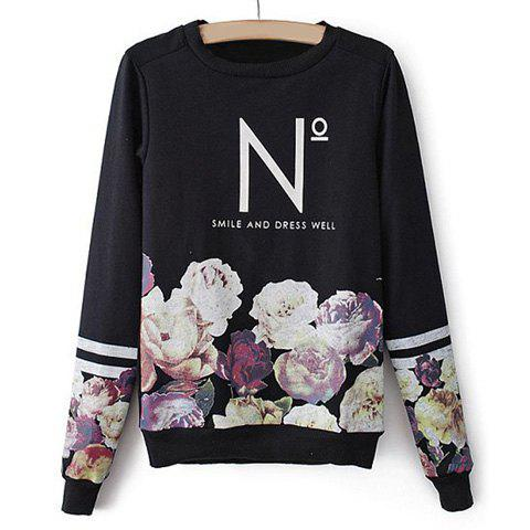 Casual Round Collar Letter And Floral Print Color Splicing Long Sleeves Women's T-shirt - BLACK L