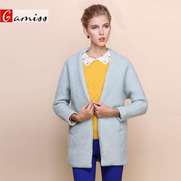 Fshionable Solid Color Button Pocket Long Sleeve Coat For Women - LIGHT GREEN S