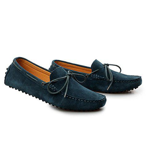 Stylish Solid Color and Suede Design Men's Loafers - BLACKISH GREEN 39