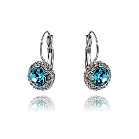 Fake Crystal Round Shape Earrings - BLUE