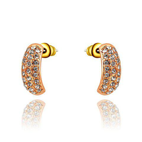 Pair of Chic Diamante Golden Earrings For Women