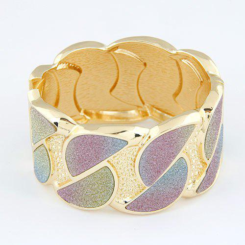 Stylish Colored Frosted Design Wide Cuff Bracelet For Women - GOLD