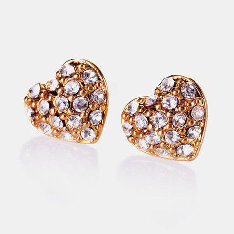 Pair of Rhinestoned Heart Shape Stud Earrings - GOLD
