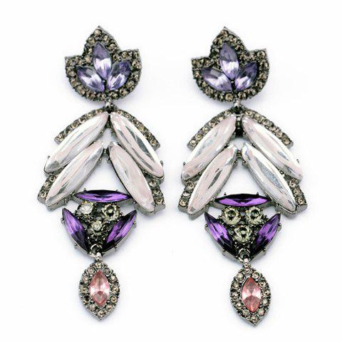 Pair of Rhinestoned Maple Leaf Shape Drop Earrings - PURPLE