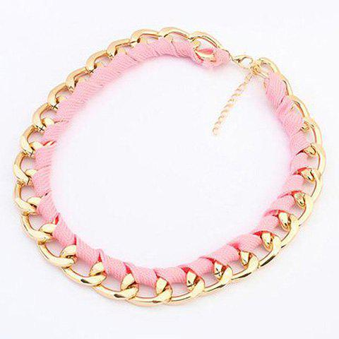 Trendy Fluorescence Color Knitted Design Necklace For Women - PINK