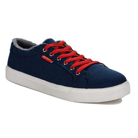 Simple Round Toe and Lace-Up Design Men's Canvas Shoes - BLUE 40