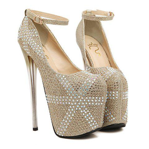Elegant Rhinestones and Buckle Design Pumps For Women - GOLD 37