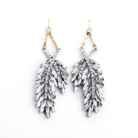 Pair of Faux Crystal Leaf Pendant Drop Earrings