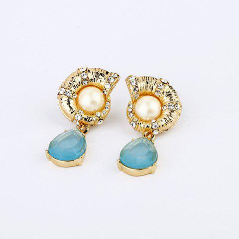 Pair of Exquisite Colored Pendant Diamante Snail Earrings For Women - AS THE PICTURE