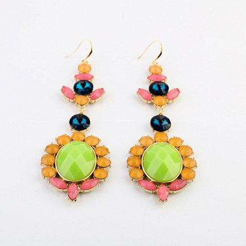 Pair of Light Color Faux Gemstone Embellished Drop Earrings For Women