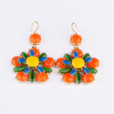 Pair of Cute Vivid Polychrome Faux Gemstone Embellished Drop Earrings For Women - AS THE PICTURE