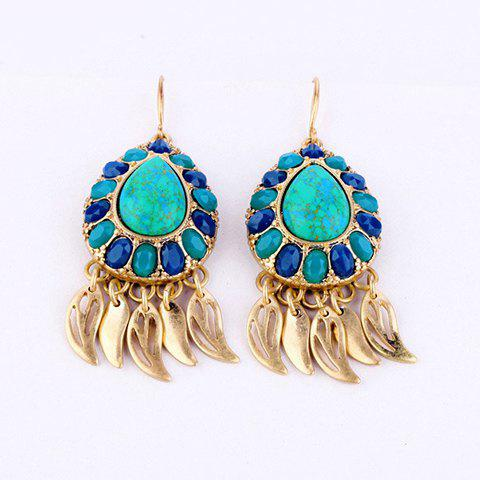 Pair of Exquisite Small Leaf Pendant Faux Gemstone Earrings For Women - AS THE PICTURE