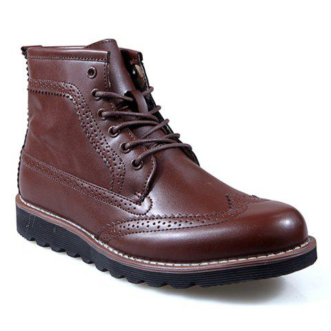 Vintage Carving and Solid Color Design Boots For Men