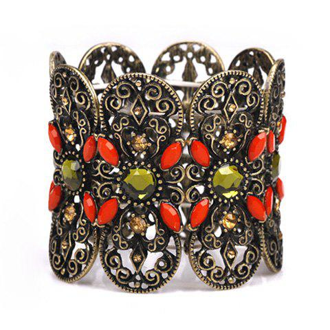 Ethnic Style Faux Gemstone Embellished Wide Strand Bracelet For Women - AS THE PICTURE