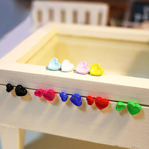 Pair of Cute Candy Color Big and Small Heart Earrings For Women (one pair) - COLOR ASSORTED