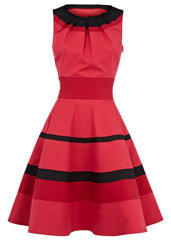 Women's Graceful Stripe Narrow Waist Flouncing Pleated Sleeveless Dress - AS THE PICTURE M