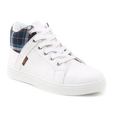 Fashion Plaid and Lace-Up Design Casual Shoes For Men - WHITE 44