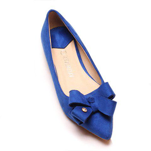 Stunning Bow and Suede Design Flat Shoes For Women - BLUE 35