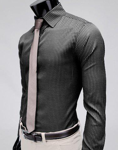 Stylish Lapel Slim Fit Men's Long Sleeve Cotton Dress Shirt - BLACK L