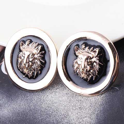 Pair of Trendy Lion Pattern Colored Glazed Round Earrings For Women - AS THE PICTURE