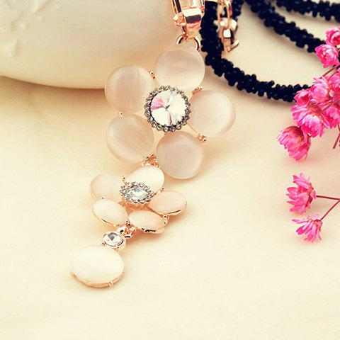 Exquisite Faux Opal Embellished Flower Penedant Black Beaded Necklace For Women - AS THE PICTURE