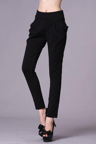 Women's Double Pockets Narrow Feet Pleated Solid Color Pants - BLACK S