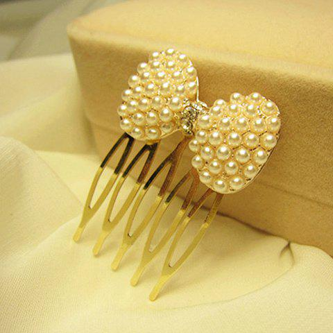Cute Faux Pearl Embellished Bowknot Hair Comb For Women - IVORY WHITE