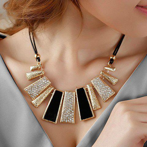 Fashion Diamante Colored Geometric Pendant Hollow Necklace For Women