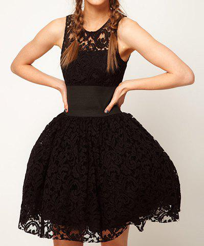 Scoop Collar Openwork Lace Sleeveless Waisted Slimming Women's Ball Gown Dress - BLACK L