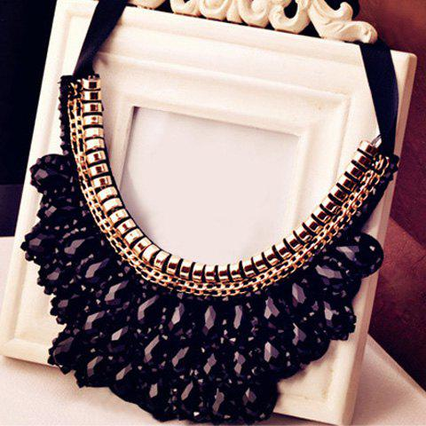 Crystal Fake Collar Necklace - BLACK