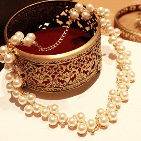 Exquisite Diamante Double Layered Faux Pearl Necklace For Women - AS THE PICTURE