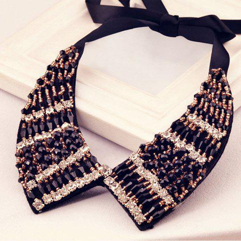Chic Black and White Beaded Fake Collar Necklace For Women - AS THE PICTURE