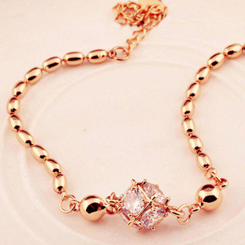 Ball Rhinestone Pendant Charm Bracelet - AS THE PICTURE