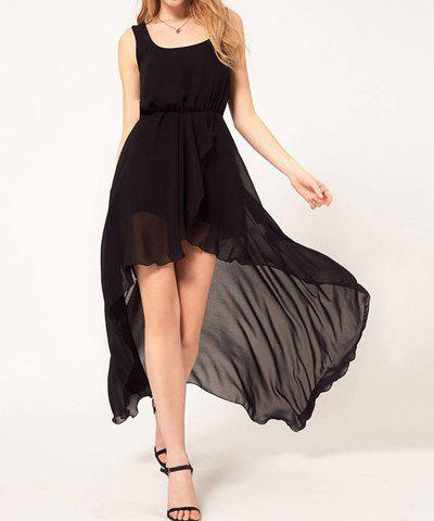 Charming Scoop Neck Beam Waist Solid Color Asymmetrical Chiffon Women's Dress - BLACK ONE SIZE