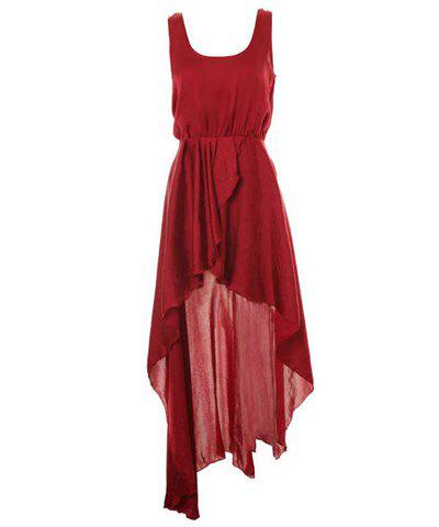 Charming Scoop Neck Beam Waist Solid Color Asymmetrical Chiffon Women's Dress - WINE RED ONE SIZE
